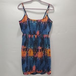 Hurley Navy Orange Tie Dye Print Cami Dress L P127